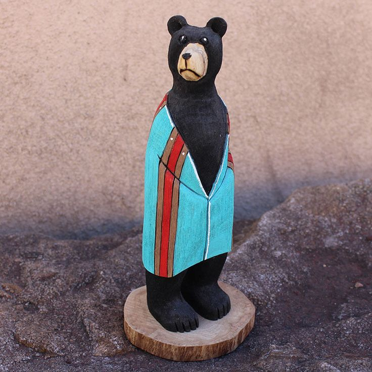 BEAR WRAPPED IN TURQUOISE & RED BLANKET by RAY LANSING - NAVAJO NATIVE AMERICAN