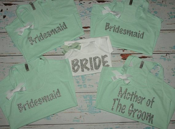 Bridesmaids Tanks (8). Bachelorette Tank Tops. Maid of Honor. Wedding shirts. bridesmaids shirts. bachelorette party. wedding tanks. on Etsy, $160.00
