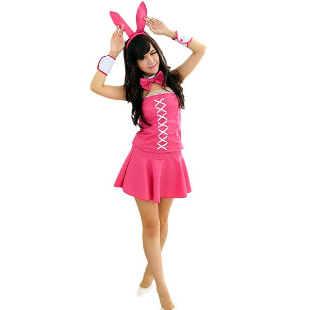 Bunny Rabbit Mini Skirt Set Babydoll Nightwear Thong Lingerie Halloween Cosplay Costumes