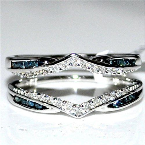 Blue and white diamond Jacket ring .31ct 14K White Gold Solitaire Enhancer Guard new $629.00 (save $866.00)