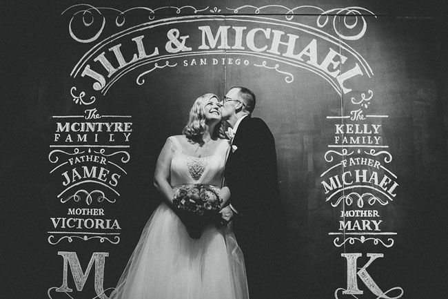 chalkboard wall - perfect for a ceremony backdrop or photo booth!