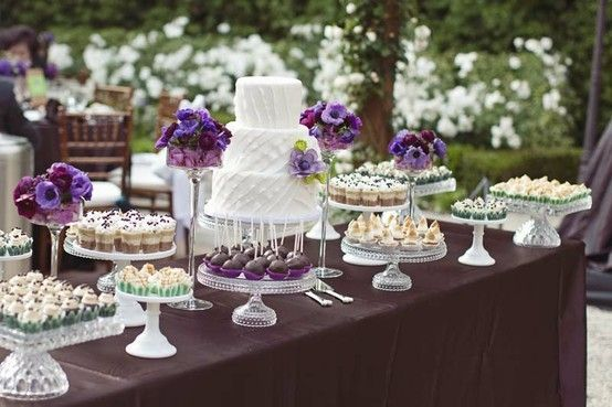 Purple, Teal and White Cake: Desserts Buffet, Wedding Desserts Tables, Sweet Tables, Cakes Tables, Cakes Plates, Desserts Bar, Wedding Cakes, Desert Table, Cakes Stands