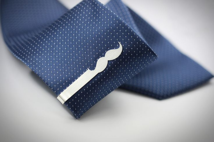 Sterling silver #Mustache tie clip // https://www.etsy.com/listing/208888977/925-sterling-silver-mustache-tie-clip