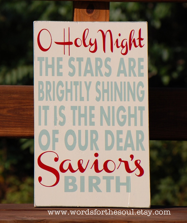 Oh O Holy Night Christmas Typography Scripture Subway Art Wood Sign Christian. $45.00, via Etsy.
