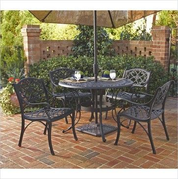 """Home Styles Biscayne 5PC 42"""" Round Outdoor Dining Set in Black Finish - Transitional - Dining Sets - Cymax"""
