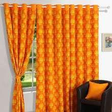 Swayam Printed Eyelet Door Curtain - Yellow & Orange Print