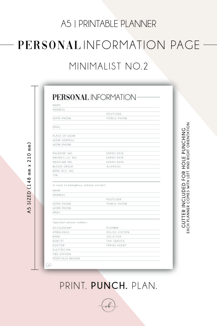 Personal Information Page Minimalist No 2 A5 Printable Planner Pages Personal Planner A5 Printables