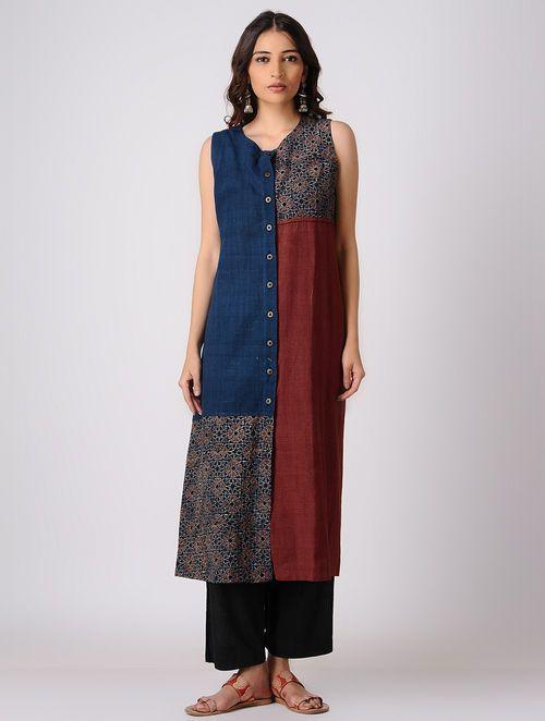 Indigo-Maroon Button Down Block-printed Cotton kurta