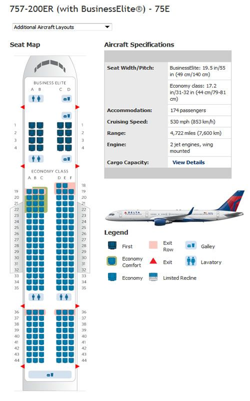 Delta Airlines Boeing 757 Airline Seating Chart Airline