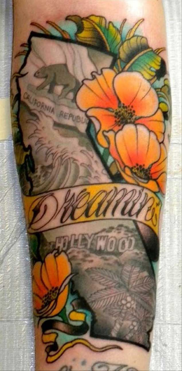 Beautiful State of California Tattoo