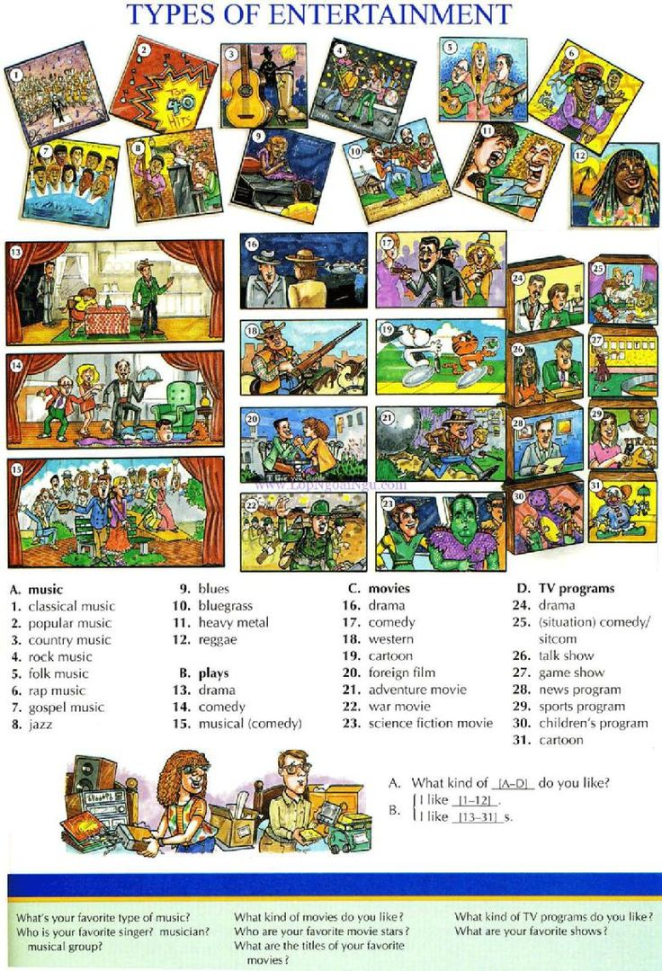 107 - TYPES OF ENTERTAINMENT - Pictures dictionary - English Study, explanations, free exercises, speaking, listening, grammar lessons, reading, writing, vocabulary, dictionary and teaching materials