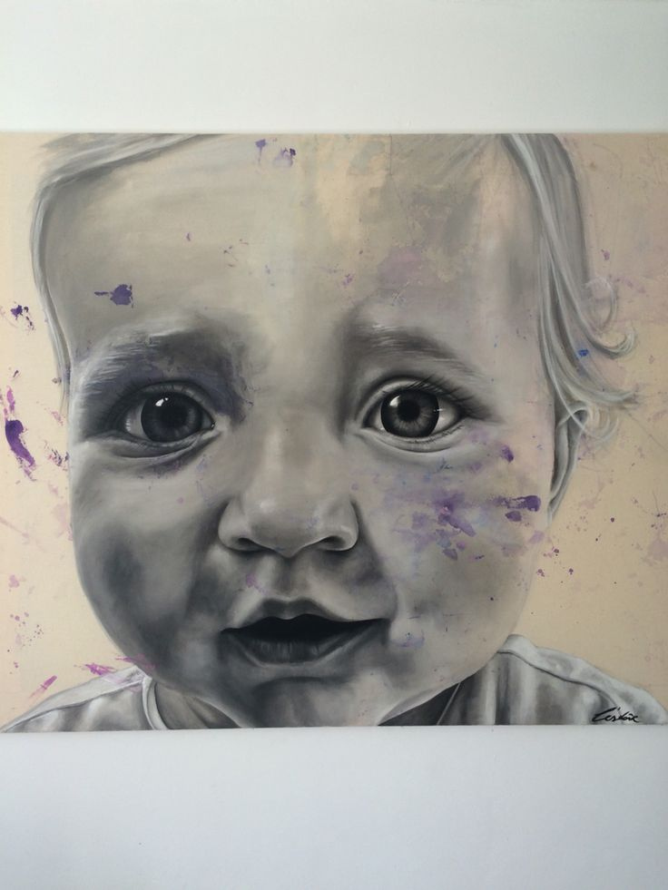 Portrait i painted together with Evy ( 1,5 years old) www.lestoir.com.    Instagram:lestoir79
