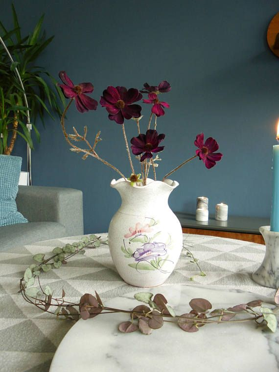 Mid century modern vase Scandinavian vase flower pattern vintage pottery mid century pottery vintage ceramics German vase Scandinavian style