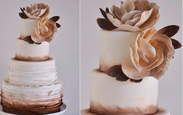 Bronze wedding cake by De La Rosa Cupcakes