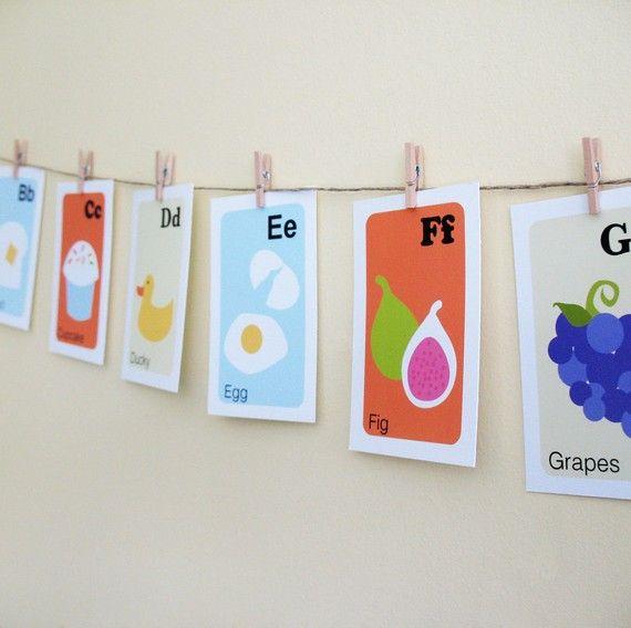 Nursery Art Print Alphabet Cards