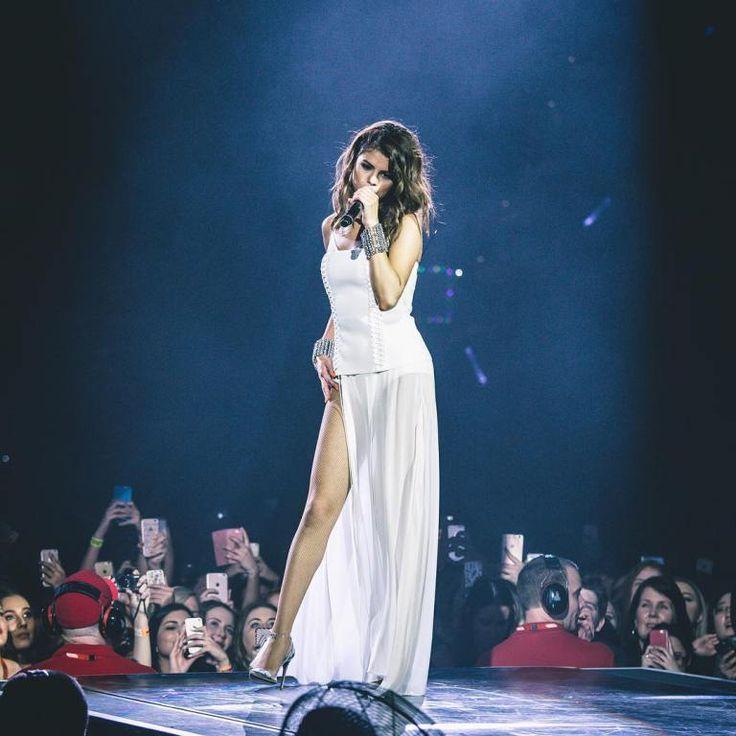 #SelenaGomez white corset dress silver cuffs #Revivaltour August 2016
