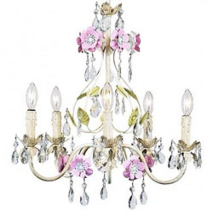 antique shabby chic chandelier of pastel floral with dangling crystals and be - Shabby Chic Chandelier