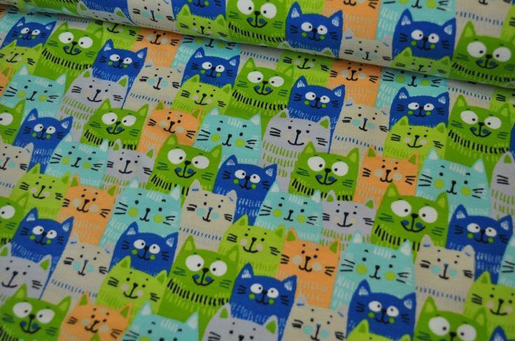 Stoff Tiermotive - Jersey Katzenkopf grün/blau - ein Designerstück von Kruemel-Design bei DaWanda