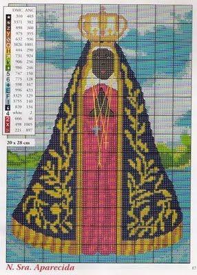 Cantinho da Jana: Gráfico de ponto cruz de Nossa senhora aparecida