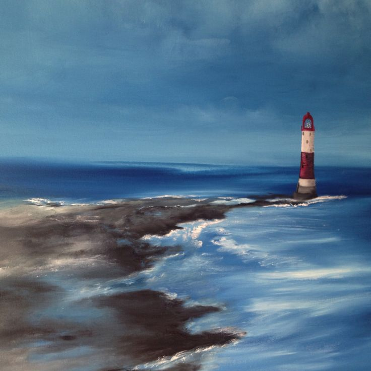 Detail of the painting Solitary Lighthouse, inspiration  from the Beachy Head in South of England .
