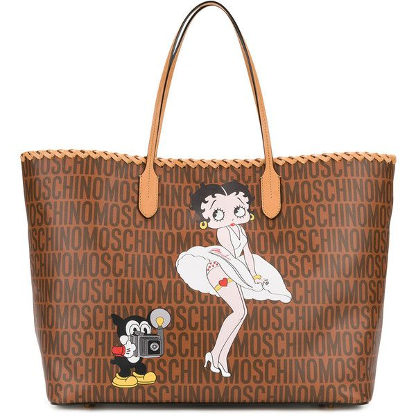 Moschino Betty Boop tote (6.210 RON) ❤ liked on Polyvore featuring bags, handbags, tote bags, brown, brown leather tote, leather tote bags, leather tote handbags, brown leather tote bag and comic book