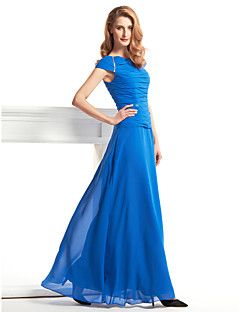 LAN TING BRIDE Ołówkowa / Kolumnowa Sukienka dla matki panny młodej - Eleganckie Sięgająca podłoża Krótki rękawek Szyfon - Zgnioty