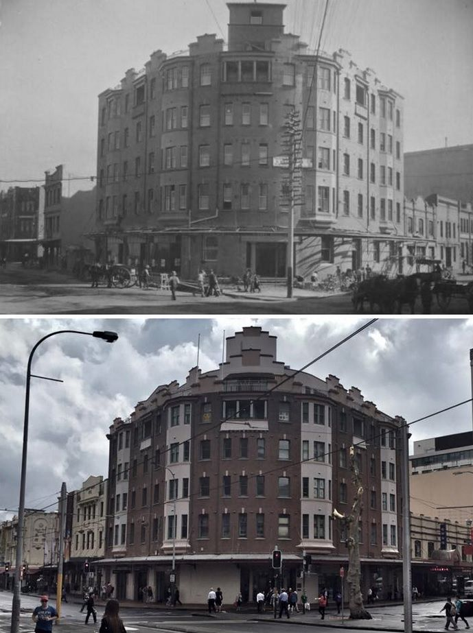 Great Western Coffee Palace. Corner of Hay and Sussex Sts, Haymarket 1914>2015 (1914: City of Sydney Archives, 2015: Curt Flood. By Curt Flood)