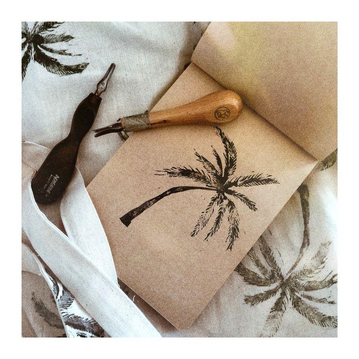 Palm style   #linocut #linoprint #palmtrees #bianicon