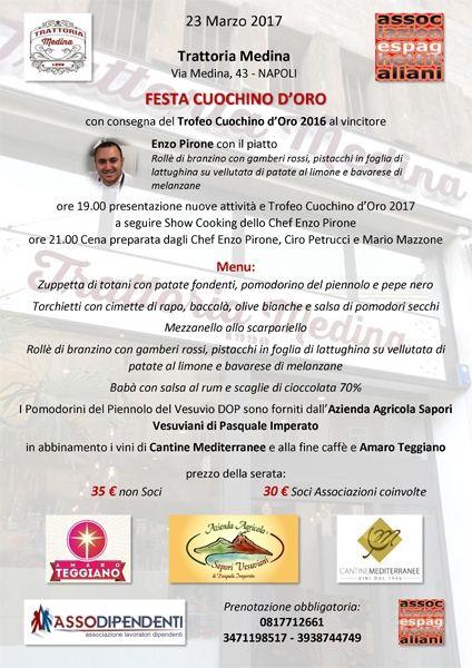 23/03 - Trattoria Medina - Napoli - Festa del Cuochino d'Oro con presentazione nuove iniziative spaghettitaliani