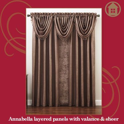 Annabella layered with a Sheer panel and decorative valance! Click to learn more about styling your windows.