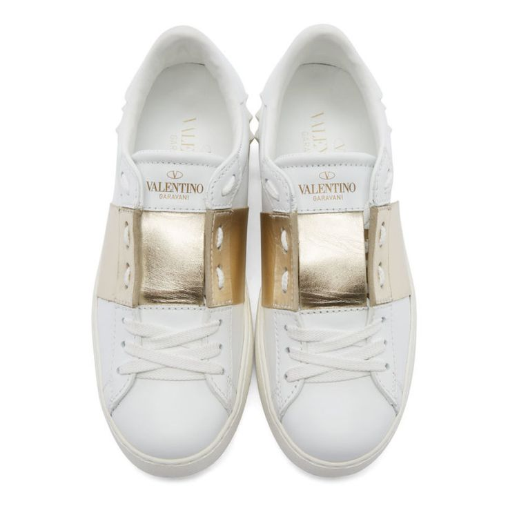 1/29/16 Valentino White & Gold Open Low-Top Sneakers