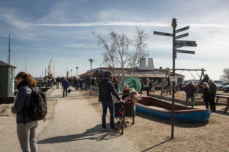 Rørvig havn med den lange mole ret frem i billedet