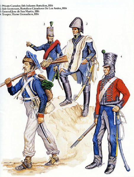 Army of The Andes 1816. L to R; 11th Infantry Battalion, Cazadore, Cazadore Battalion of the Andes, Sub Lieutenant, General Jose De San Martin & Horse Grenadiers, Trooper