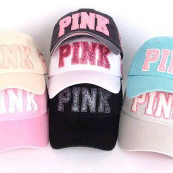 WOMEN LADIES BASEBALL BALL CAP WASHING VINTAGE HAT GLITTER PINK 7 COLORS