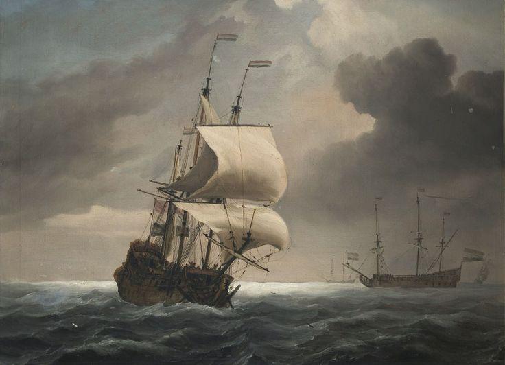 Willem van de Velde de Jonge - Schilderij met voorstelling van twee driemasters