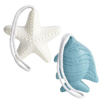 Adding rope or string to soap! Makes sense... how many times in a shower you have nowhere to put your soap, or the soap dish is full of water? Even better... pair it with a fishy bath hook!