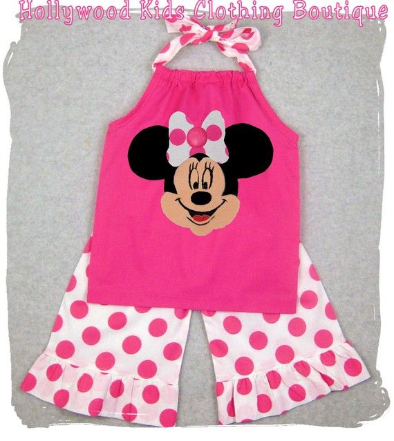 Custom Children Boutique Unique Handmade Cute Little Newborn Infant Toddler Baby Girl Clothes Clothing Pink Minnie Mouse Pillowcase Tunic Dress Top Matching ...