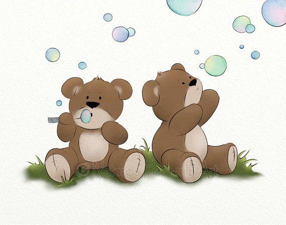 11 x 14 Babys Nursery Wall Decor Teddy Bear Childrens Print, Blowing Bubbles Kids Room Wall Art (122)