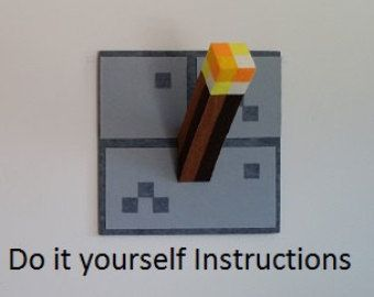 Do it Yourself Minecraft Inspired Torch, Torches Instructions, pattern wall decor
