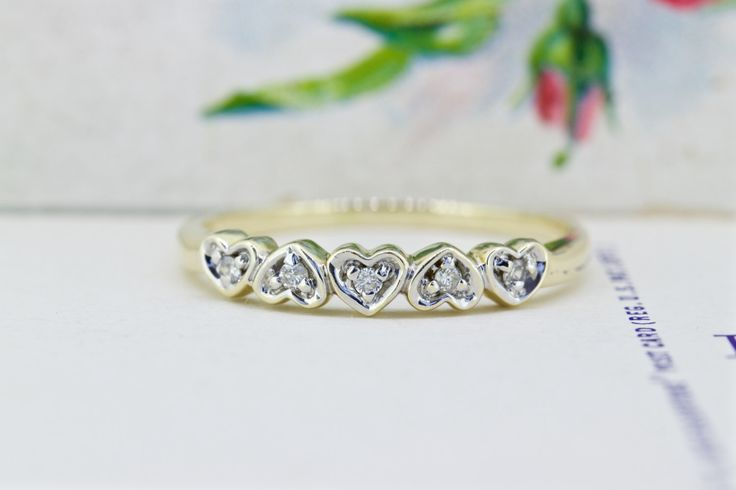 Dainty Heart Ring | Vintage 1950s Wedding Band | Thin Gold Stacking Ring | 14k Yellow Gold Wedding Ring | Romantic Jewelry | Size 9.25 by FergusonsFineJewelry on Etsy https://www.etsy.com/listing/249867824/dainty-heart-ring-vintage-1950s-wedding