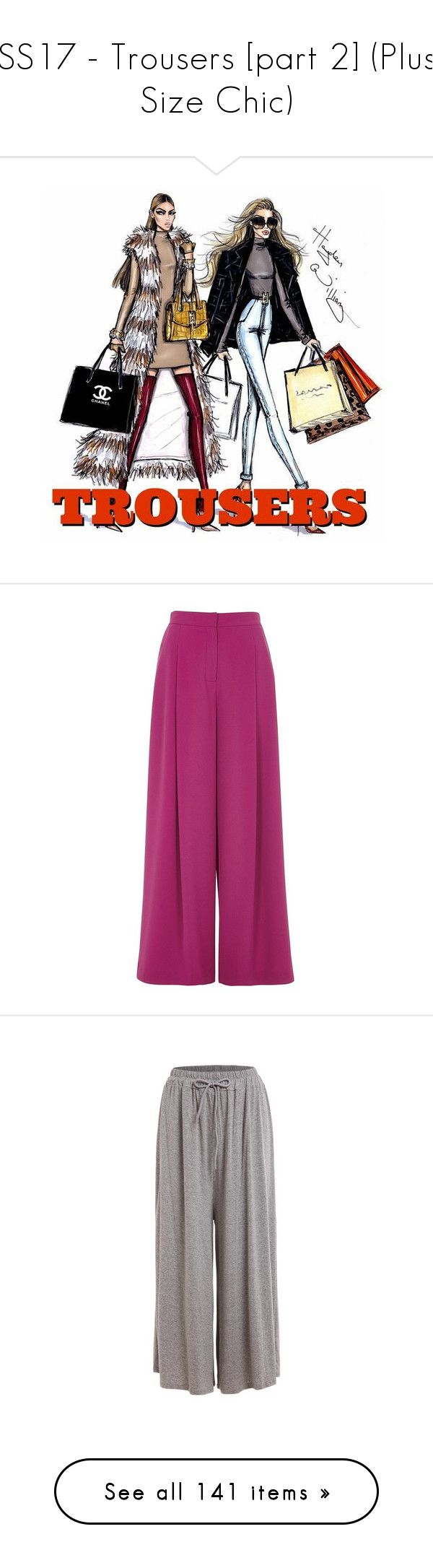 """""""SS17 - Trousers [part 2] (Plus Size Chic)"""" by foolsuk ❤ liked on Polyvore featuring pants, trousers, pink, wide leg pants, women, pink pants, pink wide leg pants, tall pants, river island and purple pants"""