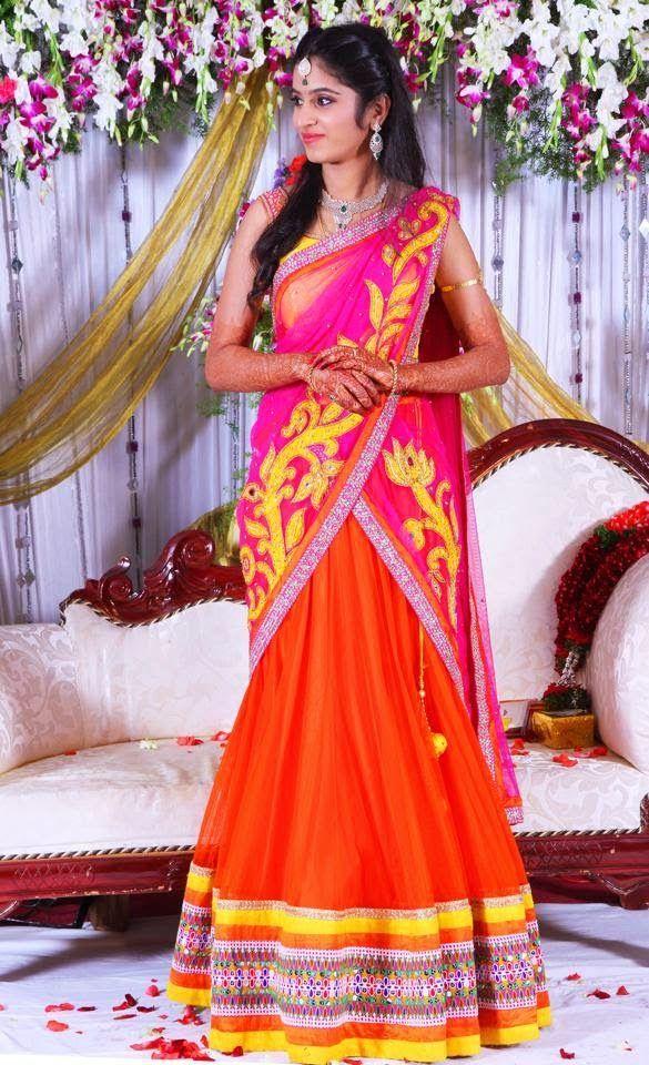 Bride in Mugdha Arts Half Saree | Saree Blouse Patterns