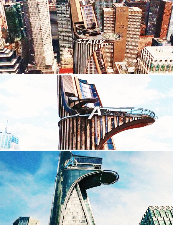 Stark Tower to Avengers Tower. I squealed so loudly when I saw this in the trailer. Like... YUSSSS