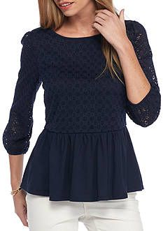 crown & ivy™ Petite Lace Jersey Peplum Top