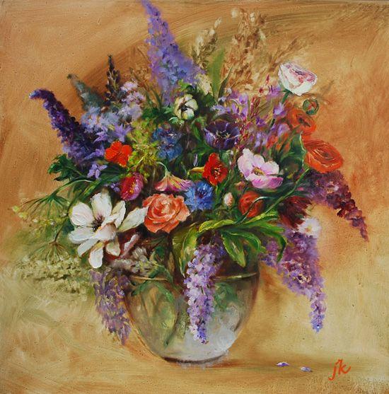 Olieverf Boeket bloemen in een vaas maat 60 x 60 cm te koop (2014-2016) Voltooid schilderij