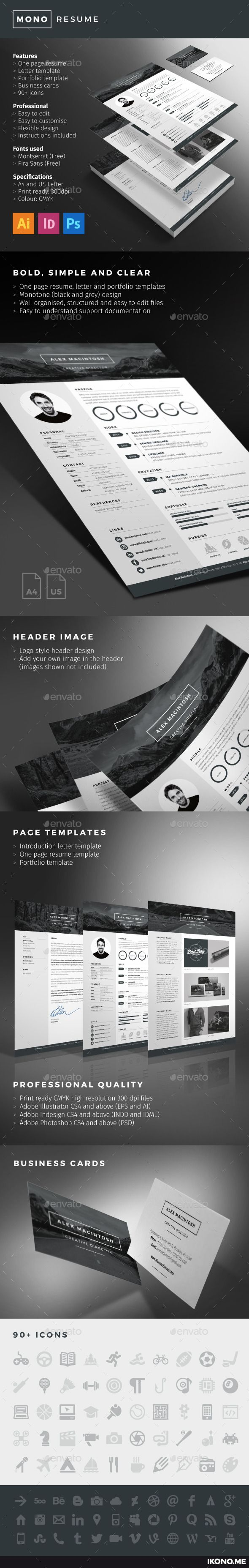Mono Resume template by www.ikono.me 3 page templates, 90+ icons, Adobe Indesign, illustrator and photoshop files. #resume #template #design