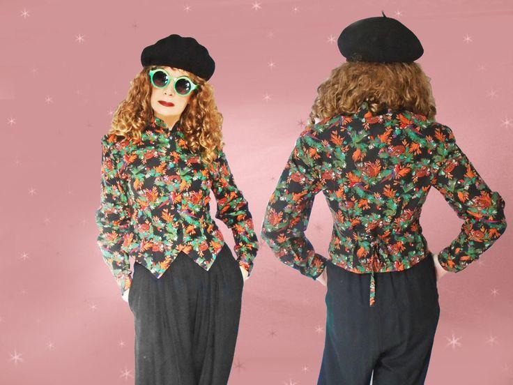Womens 80s Vintage Jacket - 80s Spring Top - 80s Blouse Jacket - Exotic Jungle Print - Mandarin Collar - Cinched Waist - Weskit Style Jacket by LunaJunctionVintage on Etsy