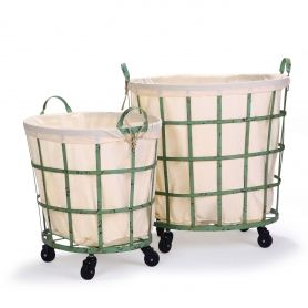adeco round rolling laundry and storage baskets beige lining window pattern khaki green set of 2 bt0025