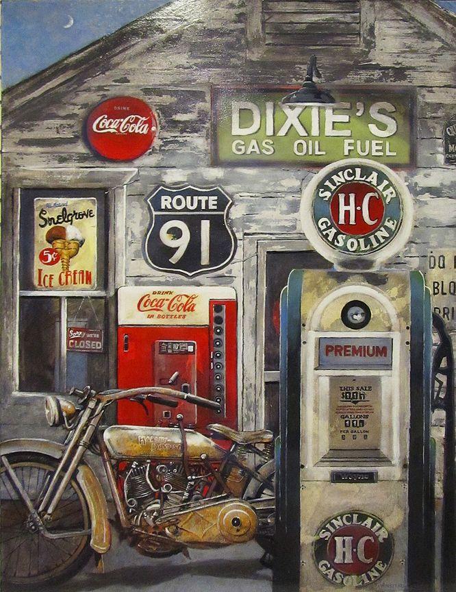 AMAZING PAINTING! Dixie's - 1917 Harley Davidson 40x30x2 Acrylic on canvas  '(C) 2012 Stewart Anstead
