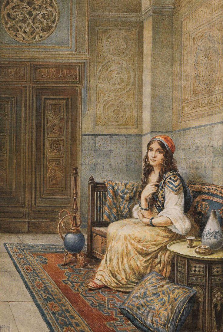 Concubine with nargile. Vittorio Rappini.